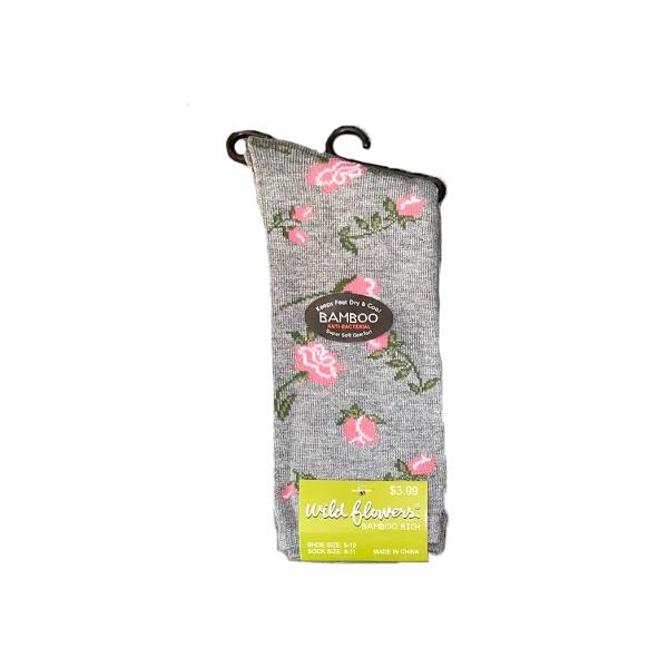 WILD FLOWERS BAMBOO ROSE PATTERN CREW- STYLE #646BA
